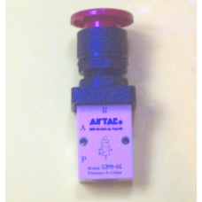 Airtac Push Button Valve, S3PM-06RT, Panel Mount, 3-way, 1/8 NPT ports