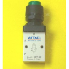 Airtac Push Button Valve, S3PP-06GT, Panel Mount, 3-way, 1/8 NPT ports